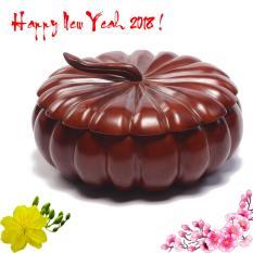 Khay đựng bánh kẹo quả bí lớn 32cm gỗ thịt 100% (tặng lọ đựng tăm khảm trai)