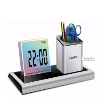 Khay đựng bút đa chức năng có đồng hồ, đèn LED phát sáng 288A