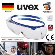 Kính bảo hộ UVEX 9169065 Super Over-the-Glass (OTG) Safety Spectacle Blue Frame Clear Optidur NC/Hi-Res Len, TRÒNG TRONG SUỐT, GỌNG XANH DƯƠNG CHUYỂN ĐỘNG, CÓ THỂ ĐEO NGOÀI KÍNH CẬN