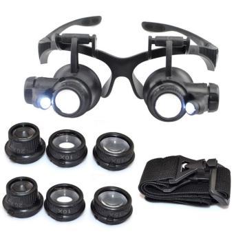 Kính lúp đeo mắt khoảng cách xem vật 5mm-15mm phóng to vật 10x 15x20x 25x (Đen)