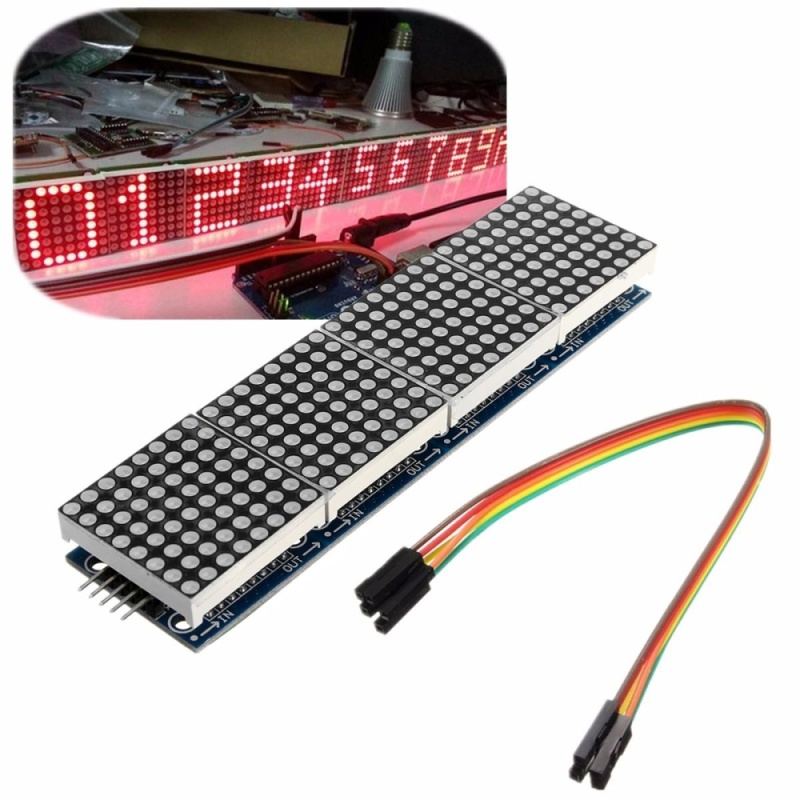 Bảng giá LED MAX7219 Dot Matrix Module Display 4 in 1 + 5Pin Cable Arduino PIC Pi ARM 5V - intl
