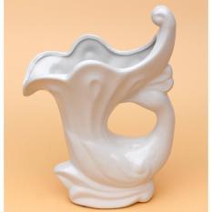 Lọ hoa gốm Bát Tràng chính hiệu Chim công múa màu trắng