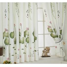 Rèm vải tuyn có diềm in họa tiết hoa sen dùng trang trí cửa, cửa sổ – Hàng Quốc tế