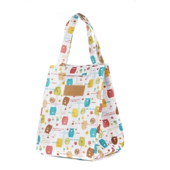 Lunch Box Bag Tote Insulated Thermal Cooler Travel Work School Picnic HandBag White bear - intl