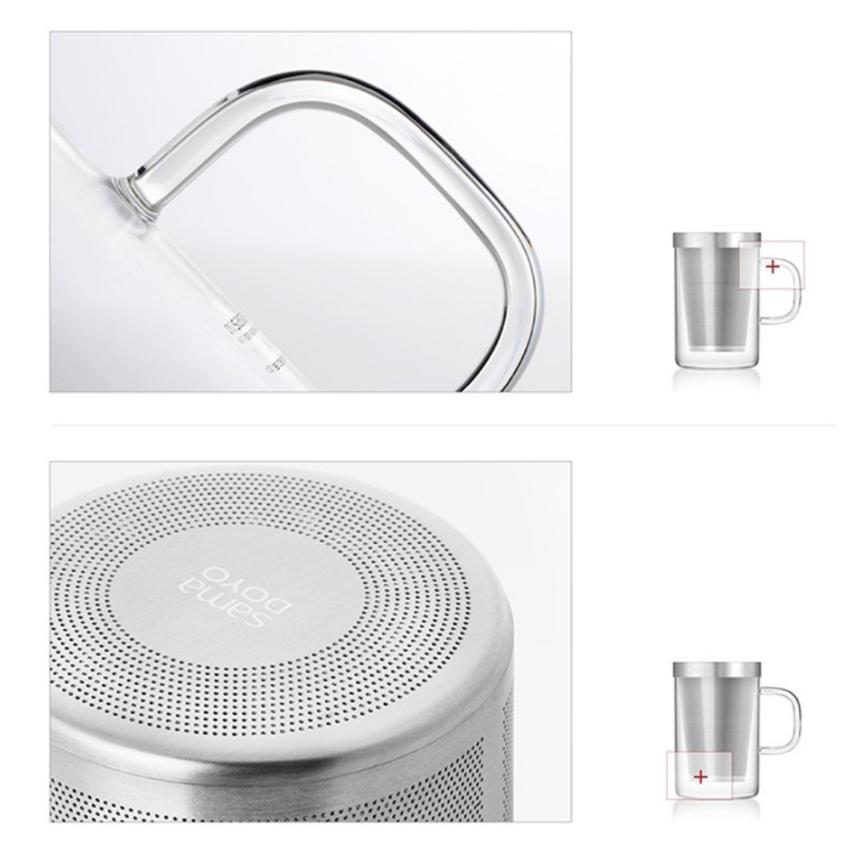 Hình ảnh Ly lọc trà thủy tinh lõi inox Samadoyo S050A 0.5L (trắng)