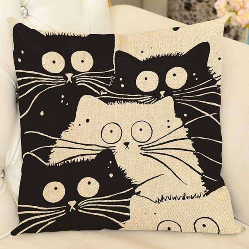 LZ 45 X 45Cm Fashion Cute Cat Pattern Printed Style Pillowcasepolyester Linen Hidden Zipper Square Pillow