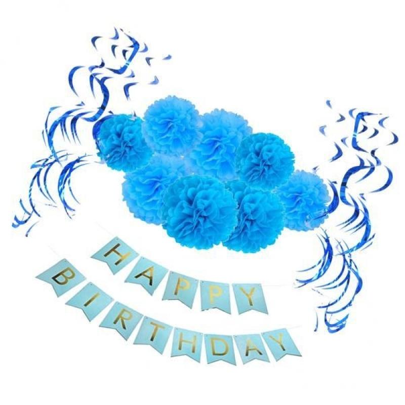MagiDeal Happy Birthday Banner Set Foil Swirls Paper Flower PomPom Party Decor Blue - intl