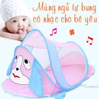 Màn Chống Muỗi và con trùng an toàn Cho Bé Happy Baby có nhạc (hồng xanh)