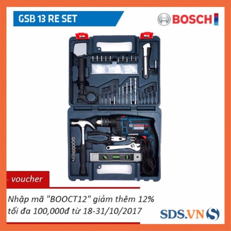 Máy khoan Bosch GSB 13 RE Set (Tặng kèm bộ dụng cụ 100 chi tiết) (Xanh đen)