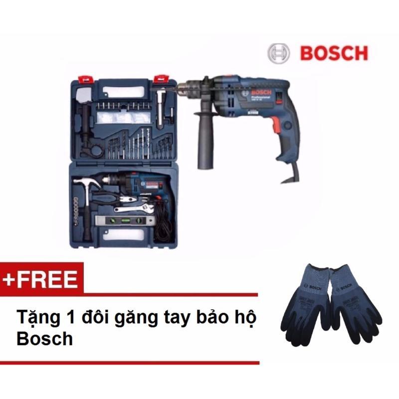 Máy khoan Bosch GSB 13 RE Set (Tặng kèm bộ dụng cụ 100 chi tiết) (Xanh đen) - Hãng phân phối chính thức + Tặng găng tay bảo hộ Bosch