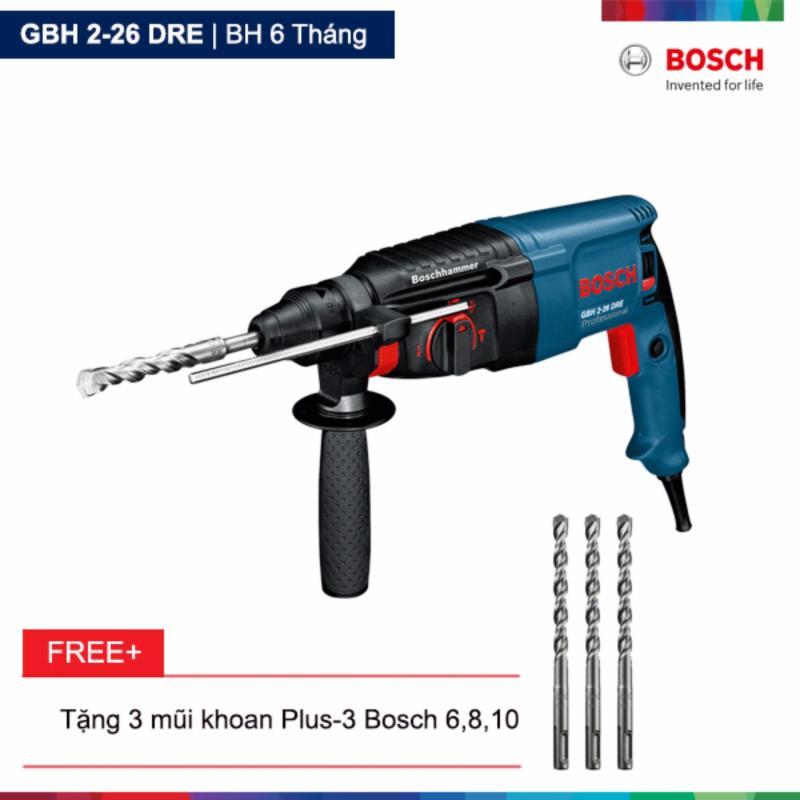Máy khoan búa Bosch GBH 2-26 DRE Tặng 3 mũi khoan Plus-3 Bosch 6,8,10