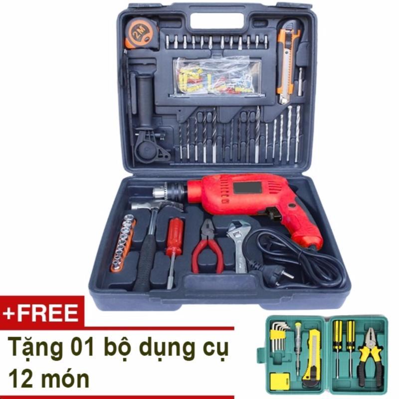 Máy khoan cầm tay DIY 112 món + Tặng bộ dụng cụ 12 món
