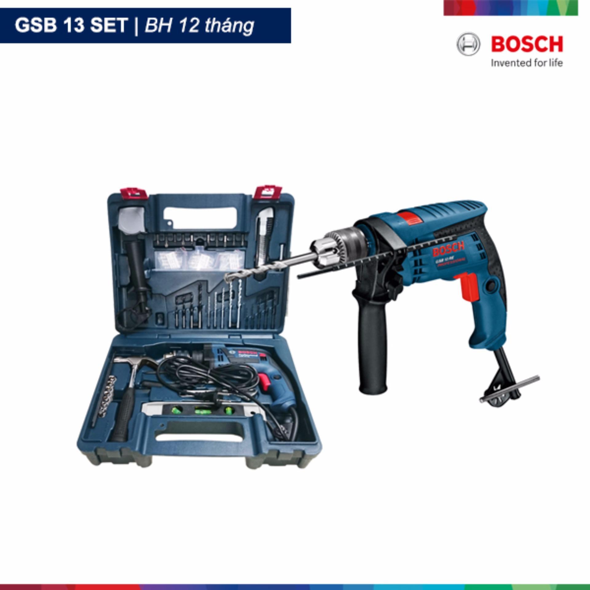 Máy khoan động lực Bosch GSB 13 Re set và Bộ 100 chi tiết