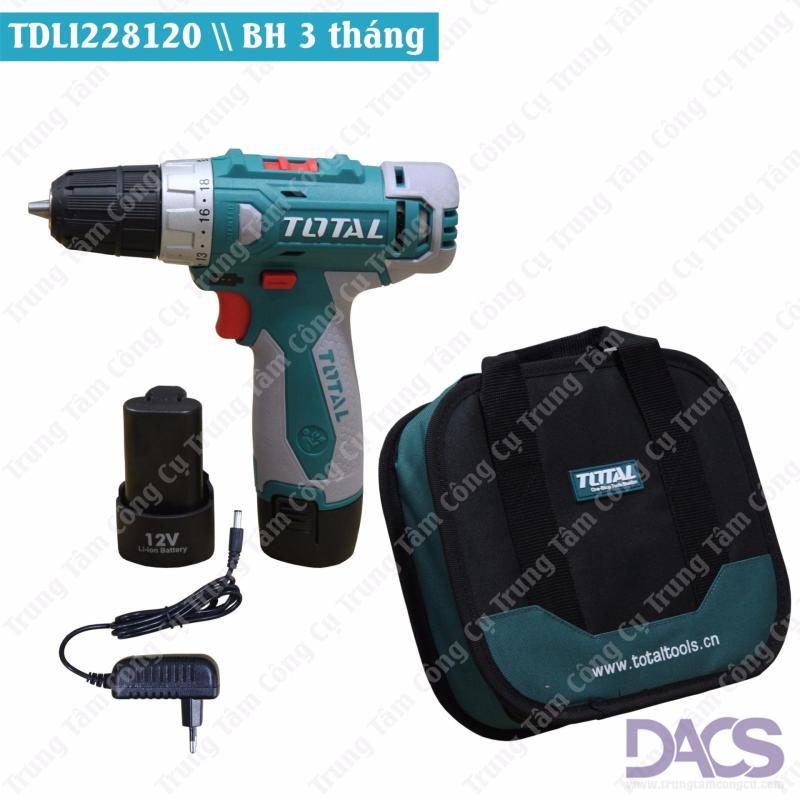 Máy khoan pin cầm tay 12V Total TDLI228120 (gồm 2 pin + túi vải)