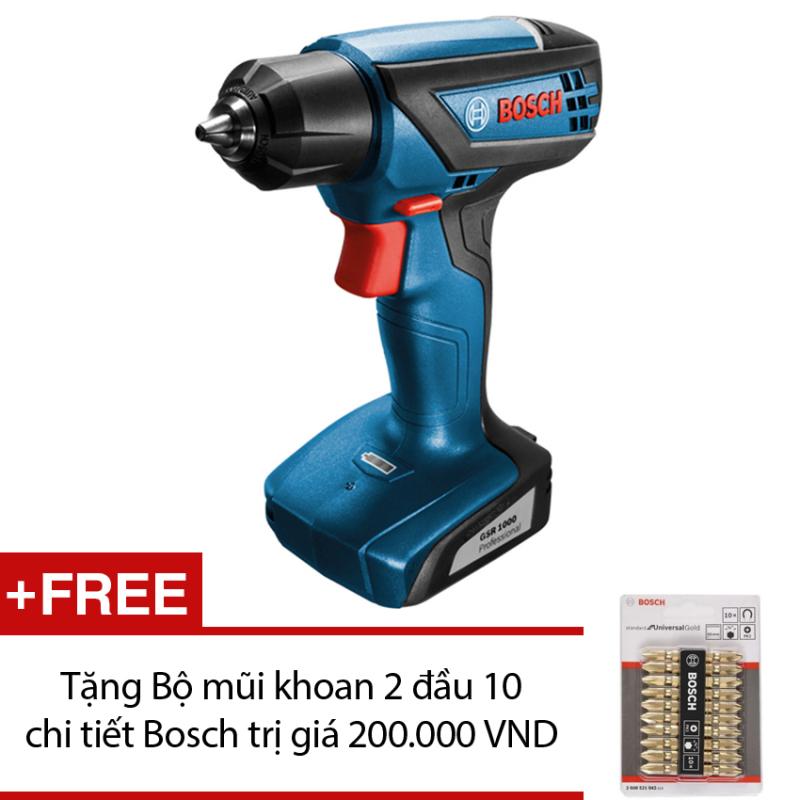 Máy khoan vặn vít Bosch GSR 1000 (Xanh đen) + Tặng Bộ mũi khoan 2 đầu 10 chi tiết Bosch