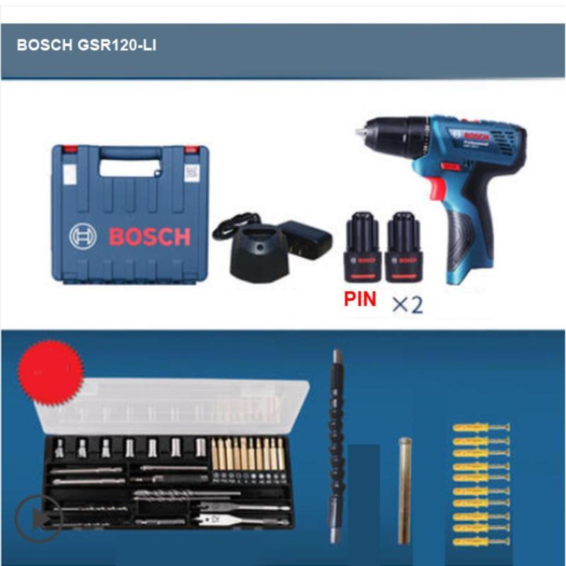 Máy khoan vặn vít dùng pin Bosch GSR 120-LI Professional (Xanh)+ 2 Pin, tặng bộ mũi khoan