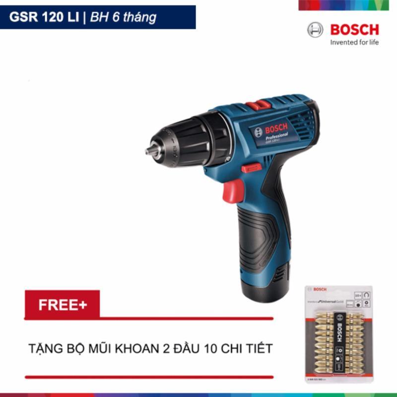 Máy khoan vặn vít dùng pin GSR 120 LI (Xanh) + Tặng Bộ mũi khoan 2 đầu 10 chi tiết Bosch
