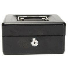 Metal Petty Cash Box Handle Change Desposit Money Holder Home Security Black - Intl