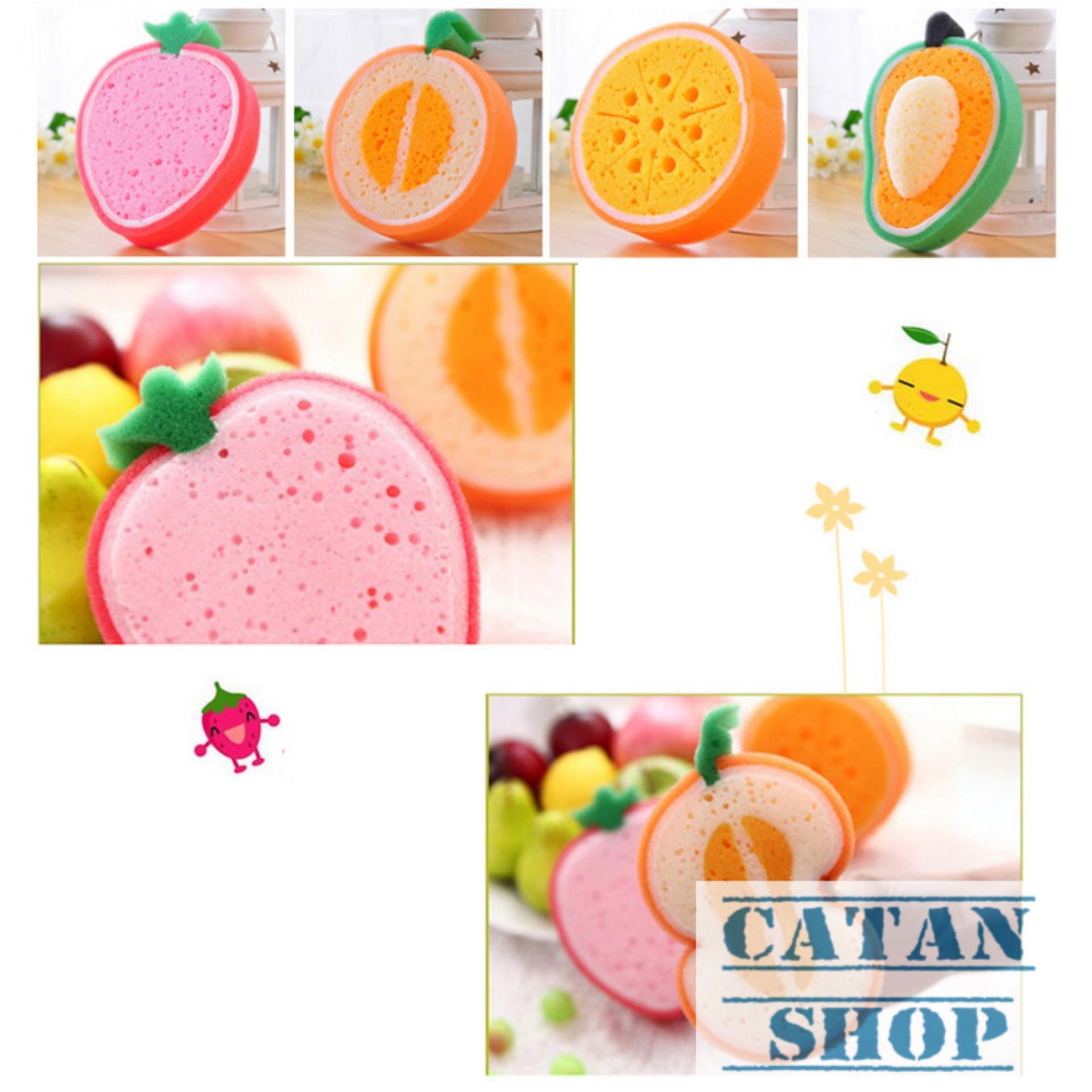 Trang bán Miếng rửa chén bát, bọt biển rửa chén hình trái cây xinh xắn trong bếp GD03-BBRC ( giao màu ngẫu nhiên)