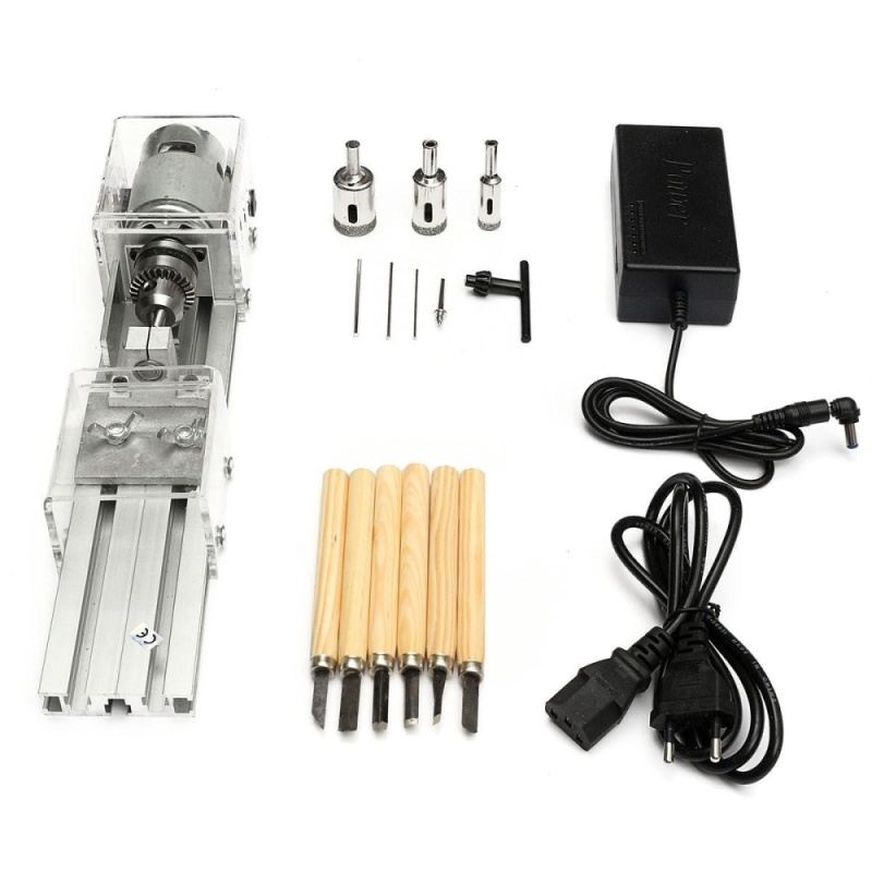 Mini Lathe Machine Woodworking DIY Lathe Set with DC 24V Power Adapter - intl
