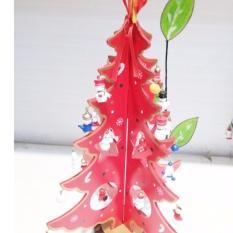 Nơi Bán Mô hình cây thông Noel hai lá bằng gỗ (Đỏ)