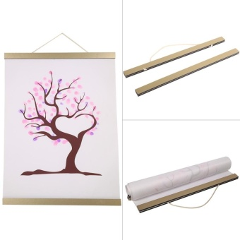 Modern Magnetic Wooden Photo Frame DIY Poster Scroll Prints Artwork Hanger Matte Gold 21cm - intl