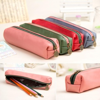 Moonar Leather Pencil Pen Case Cosmetic Pouch Pocket Storage Makeup Holder Bag (color: random) - intl