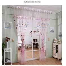 Một tấm rèm Voan Hoa Trái Tim- màu hồng (1m x 2m7)