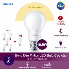 (Mua 5 tặng 1) Bóng đèn Philips LEDBulb 10.5W 3000K đuôi E27 230V A60 – Ánh sáng vàng