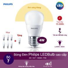 (Mua 6 tặng 1) Bóng đèn Philips Ledbulb 4W 3000K đuôi E27 220V P45 – Ánh sáng vàng