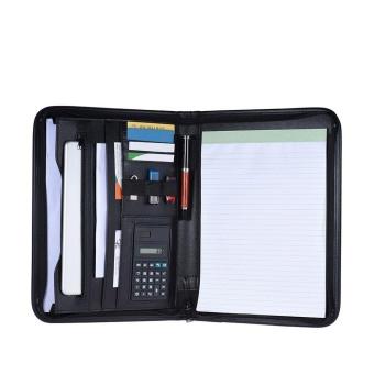 Multifunctional Professional Business Zippered Portfolio Padfolio Folder Document Case Organizer A4 PU Leather with Calculator Business