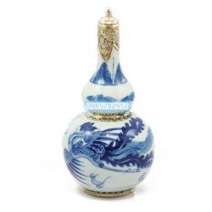 Nậm rượu vẽ phượng bọc đồng Bát Tràng 500 ml (men trắng họa tiết xanh)