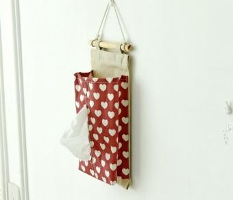 Napkin Tissue Box Paper Holder Hanging Storage Bag Sundry Storage Organizer Home Car Decor - intl