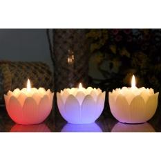 Nến thơm hoa sen đổi màu đèn LED MIC5289 (9 x 9 x 7 cm)