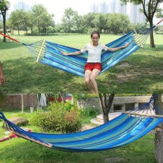New Canvas Fabric Double Spreader Bar Hammock Outdoor Camping Swing Hanging Bed - intl