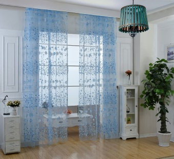 New Fashion Flower Chiffon Curtains for Living Room the Bedroom Sheer Curtains Tulle Window Curtains Fabric Drapes - Blue - intl