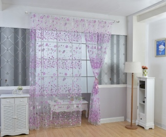 New Fashion Flower Chiffon Curtains for Living Room the Bedroom Sheer Curtains Tulle Window Curtains Fabric Drapes - Purple - intl