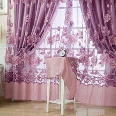 Rèm treo cửa sổ trang trí bằng vải tuyn_Màu tím nhạt