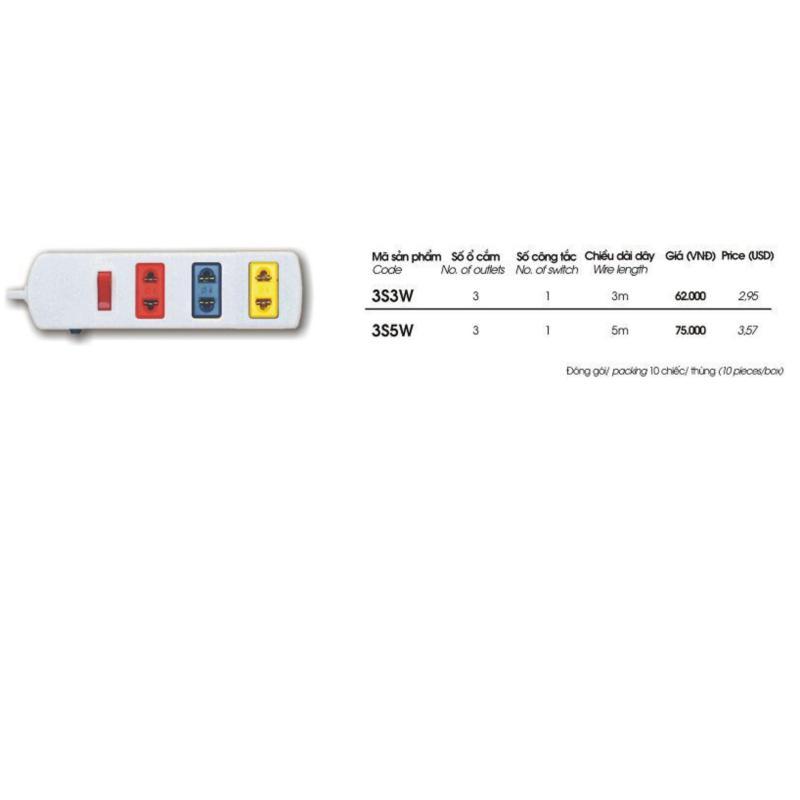 Bảng giá Mua Ổ cắm có bảo vệ quá tải bằng CB 3S3W