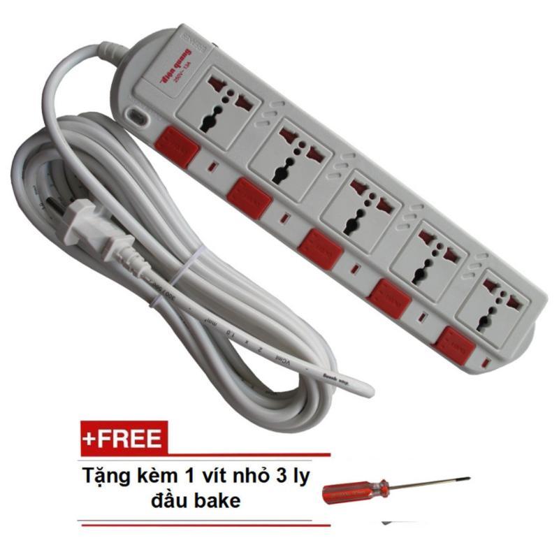 Bảng giá Ổ cắm điện 5 ổ cắm 5 công tắc dây 5 mét Điện quang kèm vít nhỏ