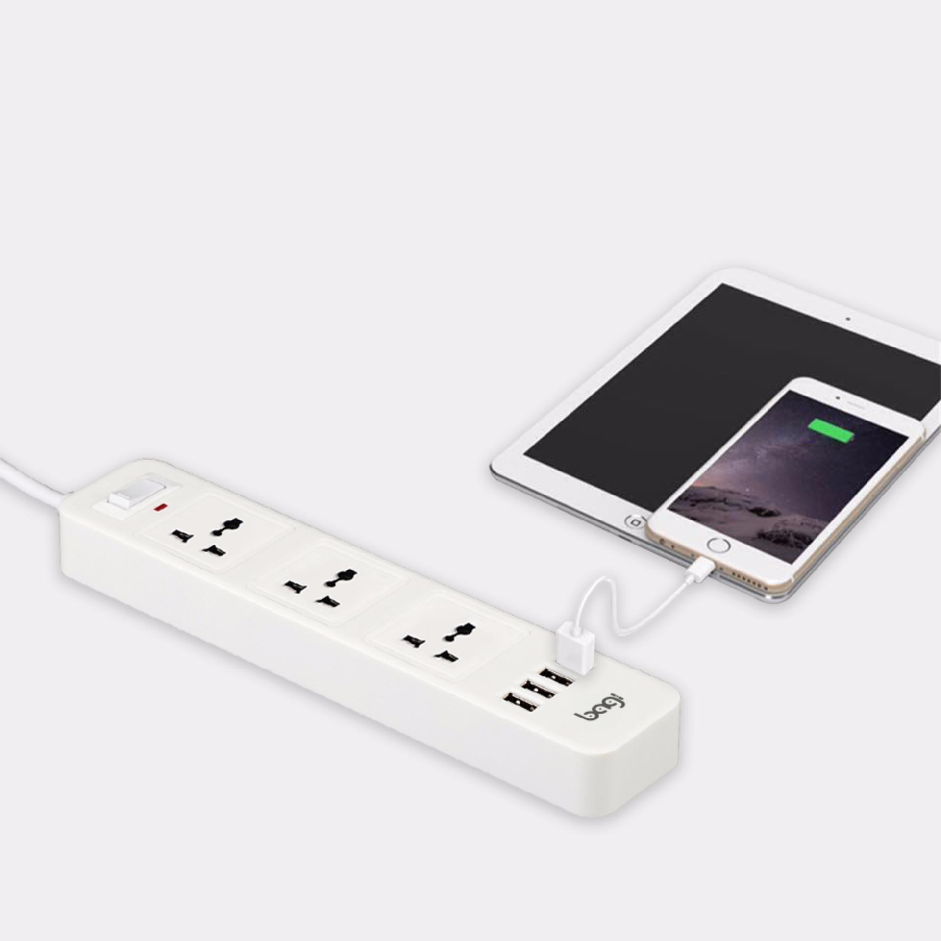 Ổ CẮM ĐIỆN ĐA NĂNG BAGI 3 Ổ ĐIỆN 4 CỔNG USB