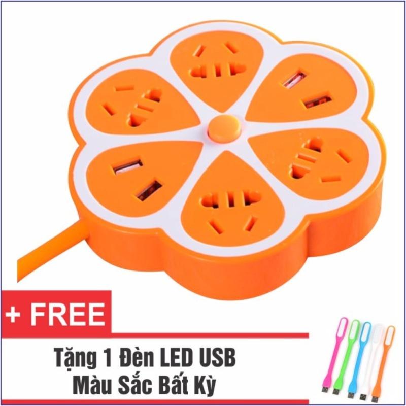 Bảng giá Ổ Cắm Điện Đa Năng Có 4 Cổng USB Bông Hoa + Tặng 1 Đèn LED USB Siêu Sáng