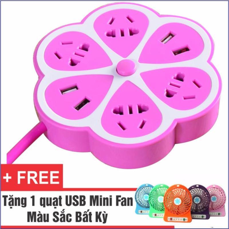 Bảng giá Ổ Cắm Điện Đa Năng Có 4 Cổng USB Bông Hoa + Tặng 1 Quạt USB Mini Fan Cực Mát