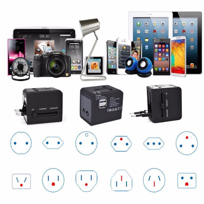 Bảng giá Ổ Cắm Điện Đa Năng Kèm 2 Cổng USB Sạc Điện Thoại - Du Lịch - Dã Ngoại Travel Adapter