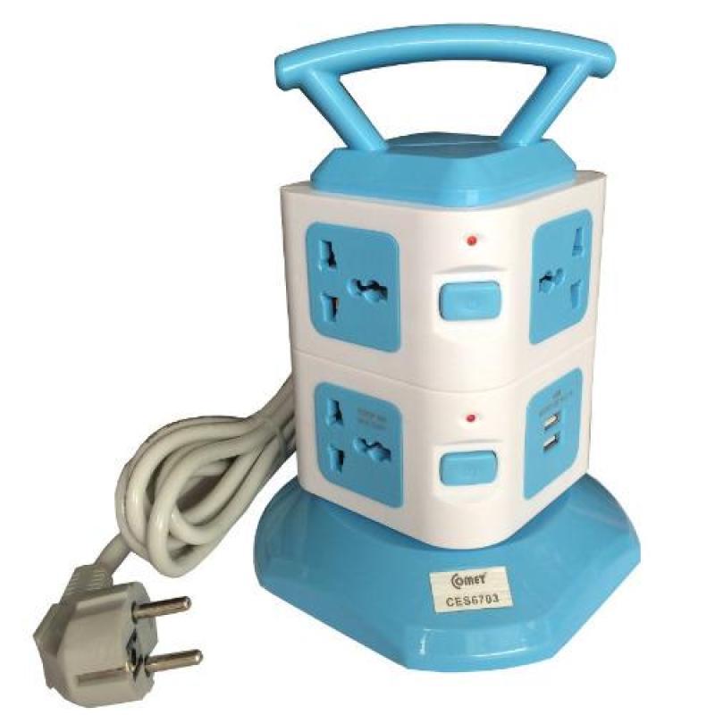 Bảng giá Ổ cắm điện kiểu tháp đa năng có cổng USB Comet 6703(Blue)