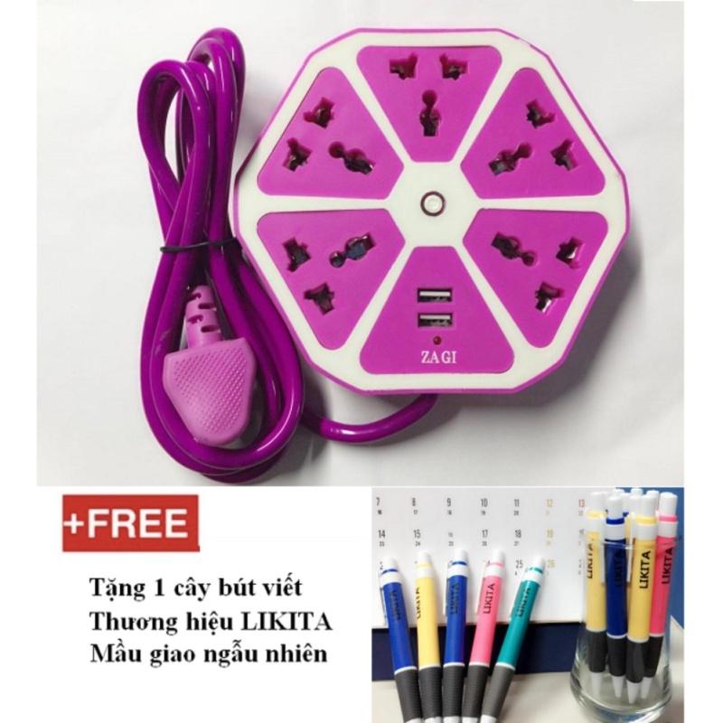 Bảng giá Mua Ổ cắm điện lục giác ZAGI 5 ổ cắm điện 2 cổng USB + Tặng 1 cây bút viết thương hiệu LIKITA