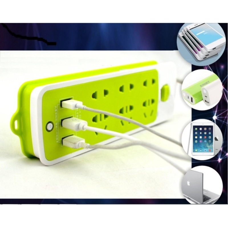 Bảng giá Mua Ổ cắm điện thông minh 6 JACK cắm và 3 CỔNG USB 2,5m (Xanh lá)