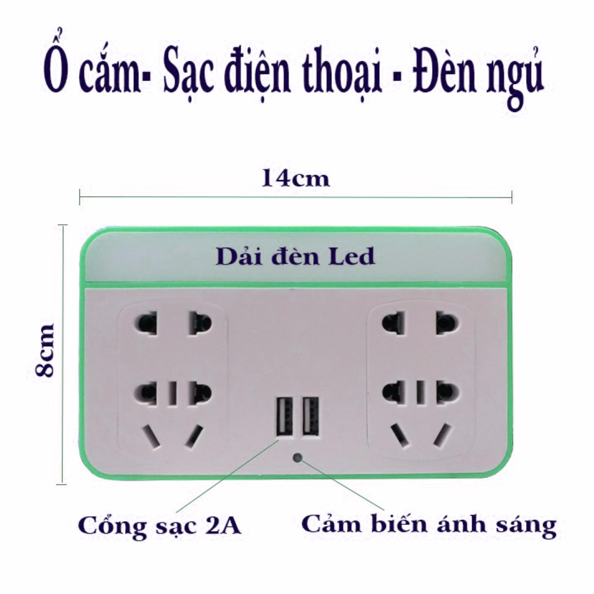 Ổ cắm kiêm sạc điện thoại và đèn ngủ cảm biến thông minh (Xanh lá)