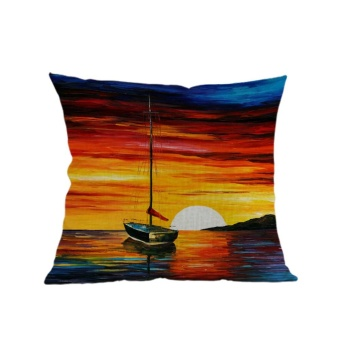 Oil Painting Linen Cushion Cover Throw Waist Pillow Case Sofa Home Decor B - intl