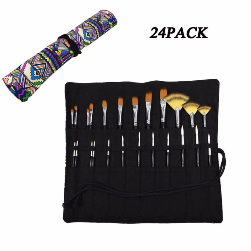 Mua Paint Brush Set 24 piece for Water Color, Oil & Acrylic Paint, Wooden Handle Nylon Brush with Bohemian Canvas Pencil Roll Wrap - intl
